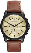 Armani Exchange Outerbanks Dark Brown Leather And Stainless Steel Watch