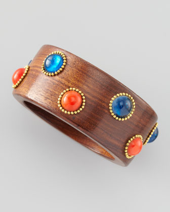 Chamak by Priya Kakkar Bead and Wood Bangle, Red/Blue