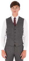 Red Herring Grey Donegal Wool Blend 5 Button Slim Fit Suit Waistcoat