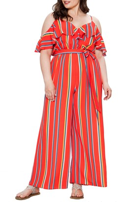 Flying Tomato Striped Cold Shoulder Jumpsuit (Plus Size)