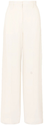 Thierry Mugler Satin-trimmed Wide-leg Crepe Pants