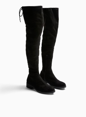 Miss Selfridge WIDE FIT Olivia Black Flat Over The Knee Boots