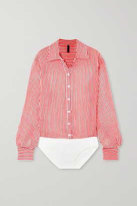 Unravel Project Striped Cotton And Silk-blend Georgette Bodysuit - Red