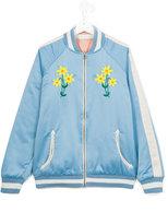 Stella McCartney embroidered flower bomber jacket - kids - Cotton/Polyester - 14 yrs