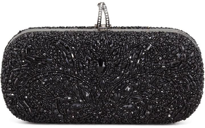 Marchesa Lily Medium Embroidered Stone Box Clutch, Black