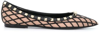 Valentino Rockstud panelled pointed-toe ballerina shoes