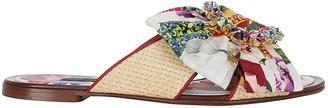 Dolce & Gabbana Floral Printed Embellished Slides