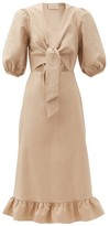 Thumbnail for your product : Adriana Degreas Tie-front Cutout Cotton-blend Midi Dress - Beige