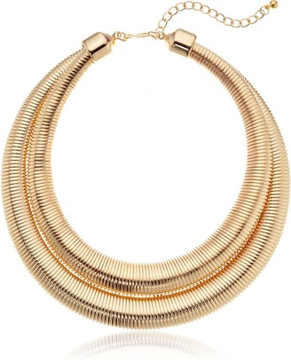 """Kenneth Jay Lane Gold 2 Row Collar Necklace 18"""" + 3"""" Extender"""