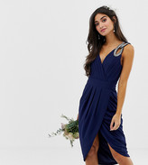 TFNC Petite Petite bridesmaid exclusive wrap midi dress in navy