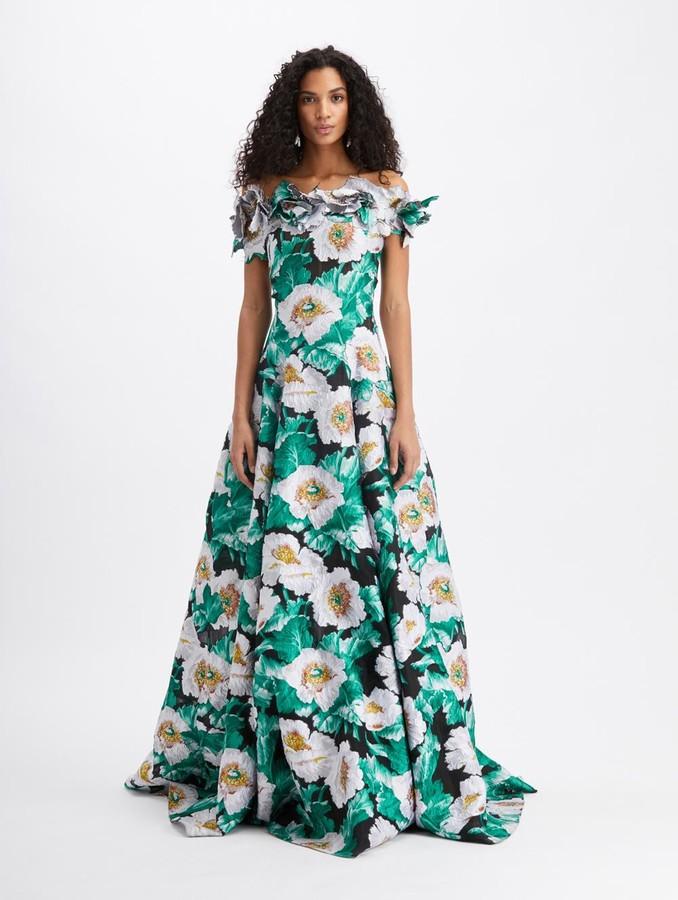 Oscar de la Renta Floral Off Shoulder Embroidered Gown