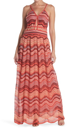 M Missoni Wavy Striped Metallic Maxi Dress