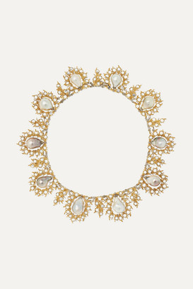 Buccellati 18-karat Yellow And White Gold, Pearl And Diamond Necklace - one size