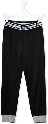 Balmain Kids TEEN logo lined sweatpants