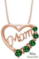 """AFFY Mothers Day Gift Cubic Zirconia April Birthstone Heart """"MOM"""" Pendant in 14k White Over Sterling Silver"""