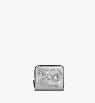 MCM Zip Wallet in Metallic Leopard Studded Leather