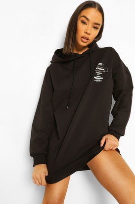 boohoo Oversized Official Back Print Sweater Dress