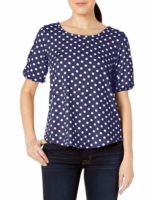 Star Vixen Women's Elbow Sleeve Keyhole Back Shirttail Hem Top