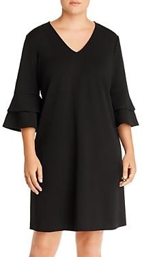 Aqua Curve Crepe Bell-Sleeve Dress - 100% Exclusive