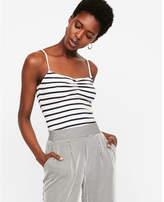 Express striped ribbed ruched front cami
