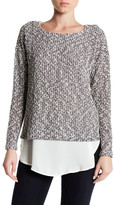 Bobeau Twofer Snit Sweater with Trim
