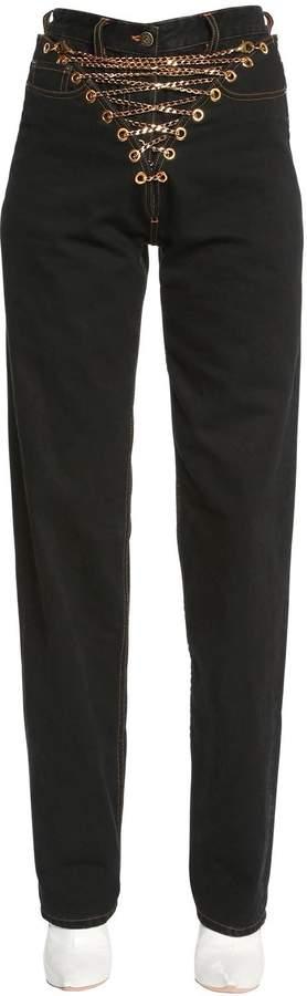 Y/Project Cotton Denim Jeans W/ Lace-Up Chains