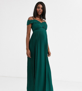 ASOS DESIGN Maternity lace and pleat bardot maxi dress in forest green