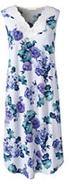 Lands' End Women's Petite Sleeveless Knee Length Nightgown-Ivory Floral