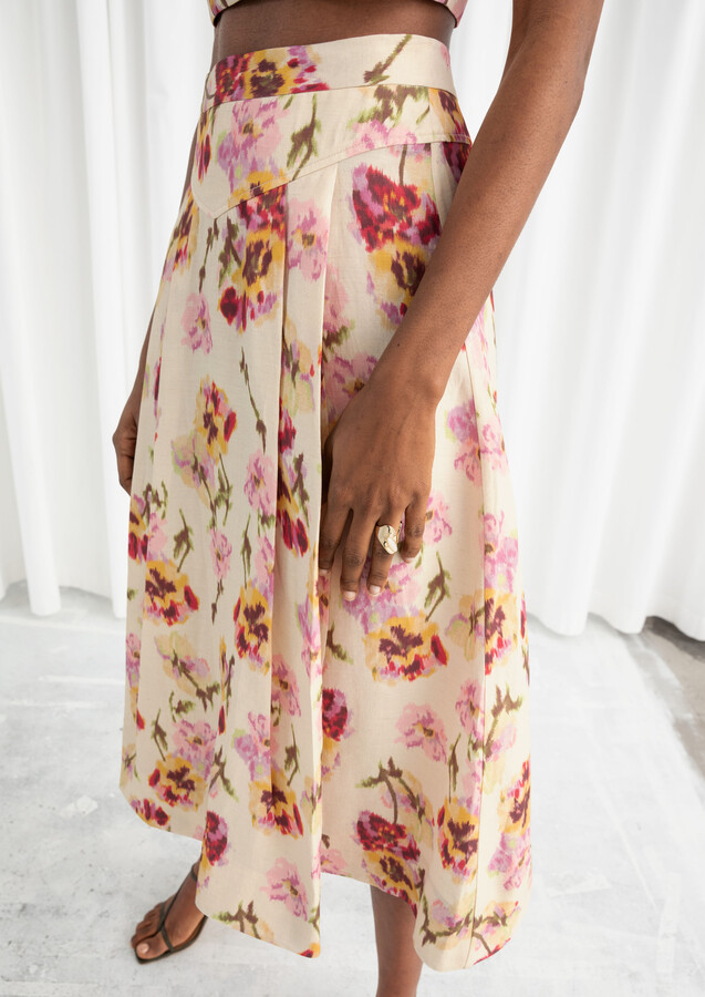 And other stories A-Line Linen Blend Floral Skirt
