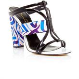 Oscar de la Renta Silk and Patent Leather Lonni Sandals