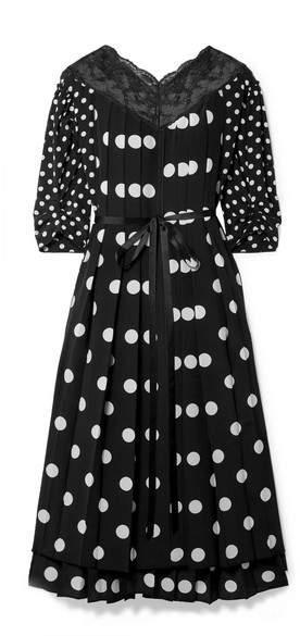 Marc Jacobs Lace-trimmed Pleated Polka-dot Silk Crepe De Chine Midi Dress - Black