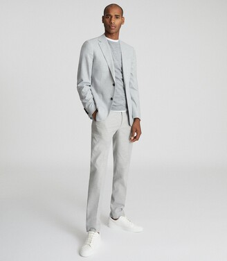 Reiss Piazetta - Brushed Wool Single Breasted Blazer in Grey