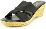 Easy Street Shoes Arezzo N/s Open Toe Canvas Wedge Sandal.
