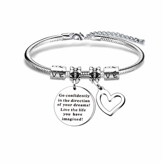 YONGHUI Inspirational Charm Snake Bangle Bracelets For Women Teenage Girls Birthday Christmas Gift Engraved Go Confidently in the Direction of Your Dream Live the Life You Have Imagined Silver