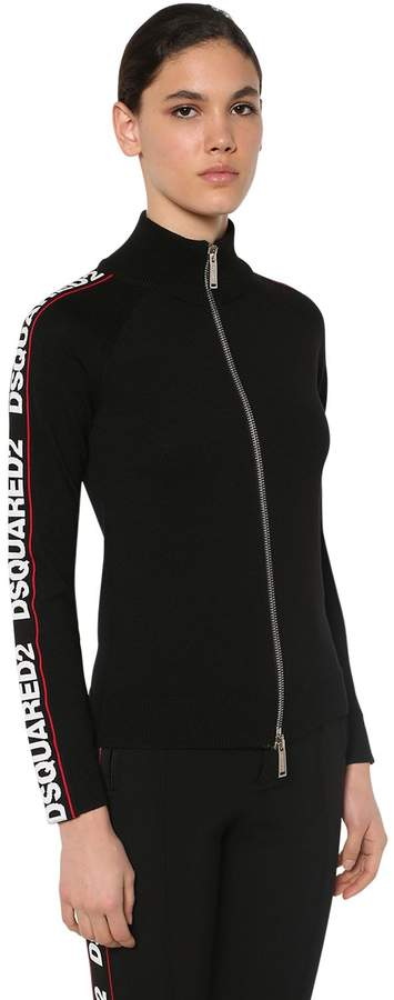 DSQUARED2 ZIP-UP WOOL BLEND KNIT SWEATER