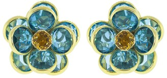 GUITA M Blue Topaz and Citrine Flower Clip Earrings