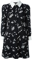 Saint Laurent music note printed shirt dress - women - Silk/Viscose - 38