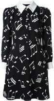 Saint Laurent music note printed shirt dress - women - Viscose/Silk - 38