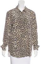 Equipment Silk Leopard Print Top