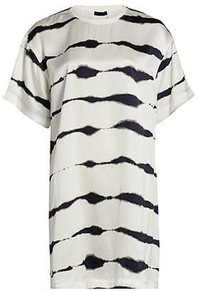 ATM Anthony Thomas Melillo Tie-Dye Stripe Silk T-Shirt Dress
