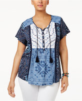 Style&Co. Style & Co Plus Size Printed Peasant Top, Only at Macy's