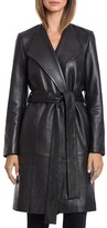 BAGATELLE.CITY Lamb Leather Belted Wrap Coat
