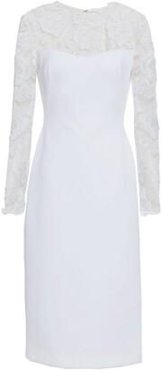 Black Halo Embroidered Tulle-paneled Neoprene Dress