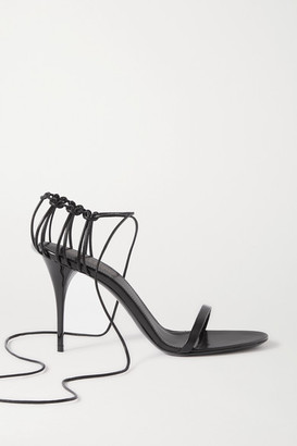 Saint Laurent Lexi Lace-up Leather Sandals - Black