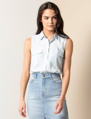 Forever New Julia Sleeveless Shirt - Eggshell Blue - 4