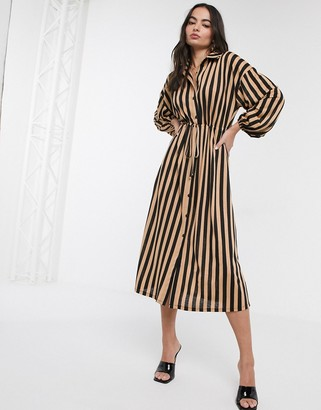 ASOS DESIGN stripe shirt dress in black and tan stripe