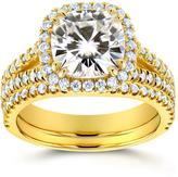 Kobelli Jewelry 2 5/7 CT TW Forever Classic Moissanite and Diamond 14K Gold 2-Piece Bridal Set