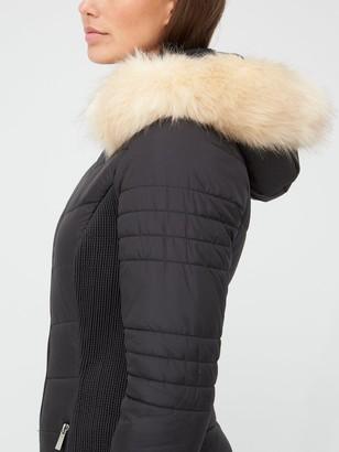 Very Long Waist Detail Padded Coat - Black