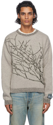 Reese Cooper Grey and Green Wool Branches Sweater