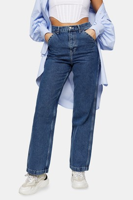 Topshop Womens Mid Blue Carpenter Straight Jeans - Mid Stone